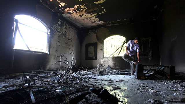 PHOTO: In this Sept. 13, 2012 file photo, a Libyan man investigates the inside of the U.S. Consulate, after an attack that killed four Americans, including Ambassador Chris Stevens on the night of Tuesday, Sept. 11, 2012, in Benghazi, Libya.