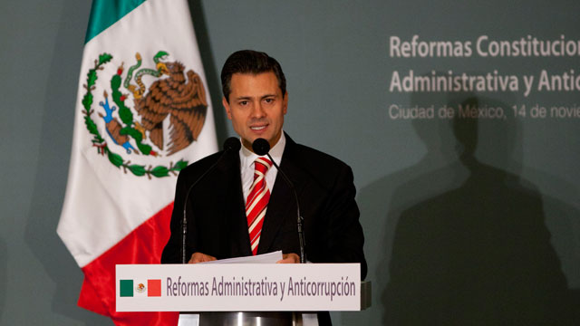 PHOTO:Mexicos President-elect Enrique Pena Nieto delivers a speech during an event in Mexico City, Wednesday, Nov. 14, 2012.