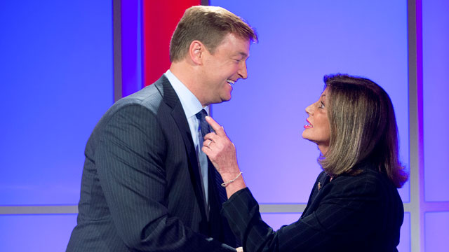 PHOTO: In this Oct. 11, 2012, file photo, Nevada Sen. Dean Heller, left, shakes hands with challenger Shelley Berkley, D-Nev. after a televised debate in Las Vegas.
