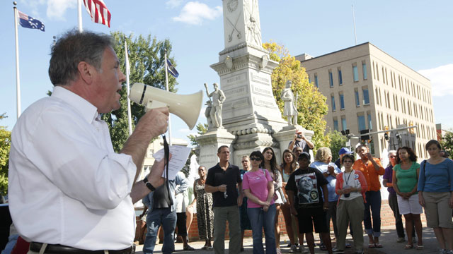PHOTO: Pennsylvania state representative Robert Freeman speaks to educate and inform on the topic of the Voter ID law in Easton?s Centre Square, Saturday, Sept. 15, 2012 in Easton, Pa.