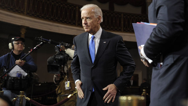 PHOTO: Vice President Joe Biden leaves the Old Senate Chamber on Capitol Hill in Washington, Thursday, Jan. 3, 2013, after participating in mock swearing-in ceremonies for senators as the 113th Congress began.