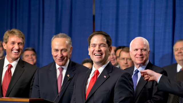 """PHOTO:There are smiles all around as immigration reform legislation is outlined by the Senates bipartisan """"Gang of Eight"""", on Capitol Hill in Washington, Thursday, April 18, 2013."""