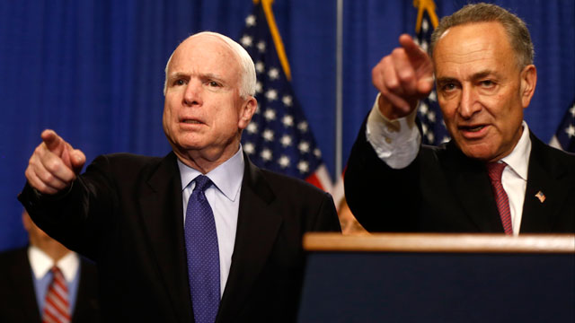 PHOTO:Sen. John McCain, R-Ariz., left, and Sen. Charles Schumer, D-N.Y. take questions during a news conference on immigration reform legislation, Thursday, April 18, 2013, on Capitol Hill in Washington.