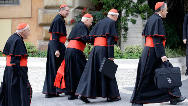 PHOTO:US cardinals arrive for a meeting, at the Vatican, Tuesday, March 5, 2013.