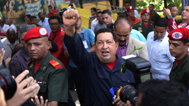 PHOTO: Venezuelas President Hugo Chávez arrives to a polling station during the presidential election in Caracas, Venezuela, Sunday, Oct. 7, 2012. Chávez is running for re-election against opposition candidate Henrique Capriles.