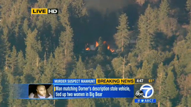 PHOTO: This Feb. 12, 2013 image made from video provided by KABC-TV shows the cabin in Big Bear, Calif. where ex-Los Angeles police officer Christopher Dorner, believed to be barricaded inside. A body pulled from the ruins was later identified as Dorner.