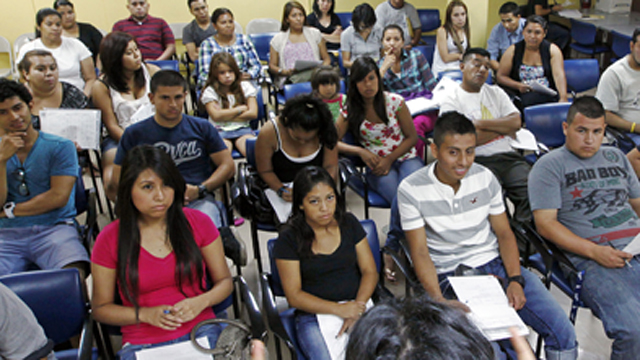 PHOTO:In this Thursday, Sept. 20, 2012 photo , Charlene Gomez leads an orientation seminar for undocumented immigrants.