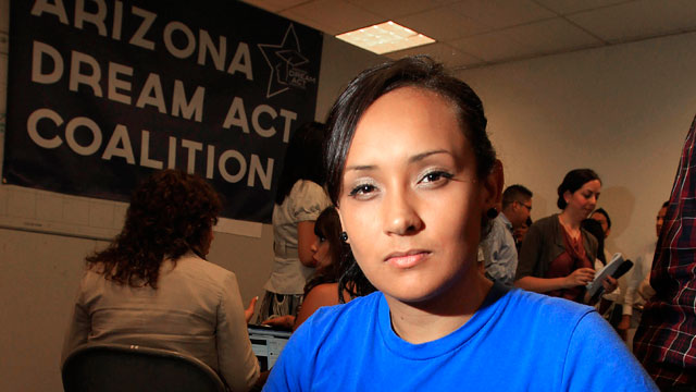 PHOTO:In this Aug. 15, 2012 file photo, young immigrant Erika Andiola, of Mesa, Ariz., poses for a portrait at a site where people line up to get guidance on Deferred Action for Childhood Arrivals in Phoenix, Arizona.