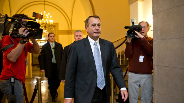 PHOTO:Speaker of the House John Boehner, R-Ohio, arrives at the Capitol as Congress faces pressure to find a legislative path to head off the automatic tax hikes and spending cuts set to take effect Jan. 1, in Washington, Monday, Dec. 31, 2012.