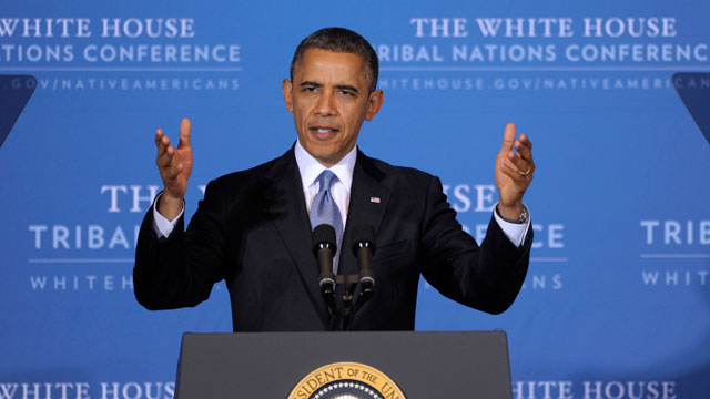 "PHOTO: President Barack Obama speaks at the 2012 Tribal Nations Conference, Wednesday, Dec. 5, 2012, in Washington. Tribal leaders are concerned about the possibility of deep spending cuts to avoid the ""fiscal cliff."""