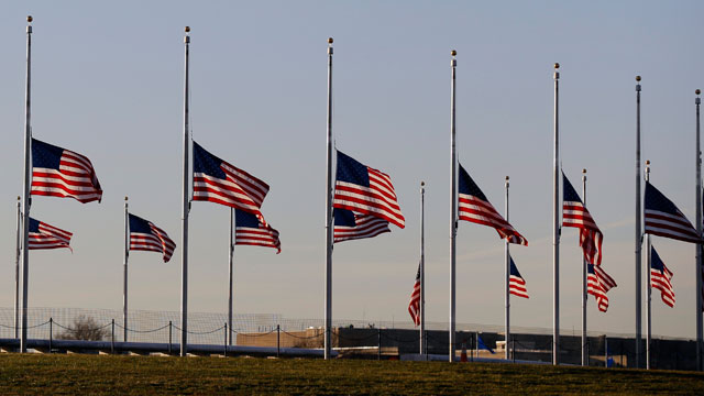 PHOTO:American flags surrounding the Washington Monument in Washington are lowered to half-staff in a mark of respect for the victims on the Connecticut elementary school shootings