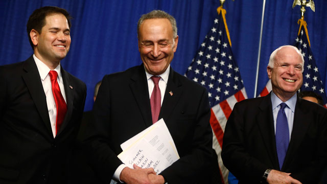 PHOTO: From left, Sen. Marco Rubio, R-Fla., Sen. Charles Schumer, D-N.Y., and Sen. John McCain, R-Ariz. smile during a news conference on immigration reform, on Capitol Hill in Washington, Thursday, April 18, 2013.