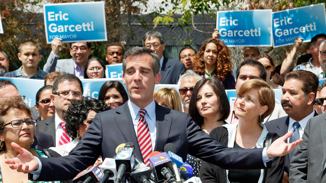 PHOTO:Los Angeles Mayor-elect Eric Garcetti speaks at a news conference in Los Angeles Wednesday, May 22, 2013.