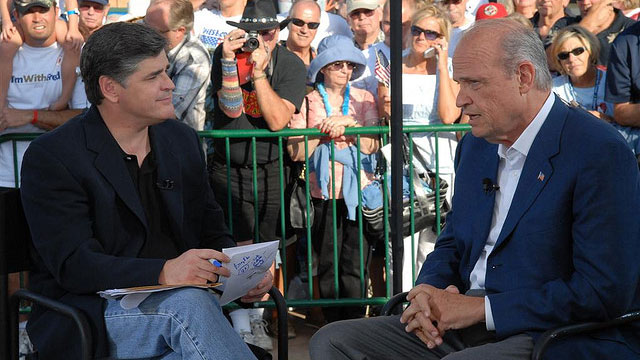 PHOTO: Fox News host Sean Hannity interviews former Republican presidential candidate Fred Thompson on July 26, 2007.