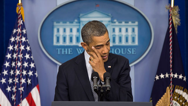 PHOTO:President Barack Obama wipes his eye as he talks about the Connecticut elementary school shooting, Friday, Dec. 14, 2012, in the White House briefing room in Washington.