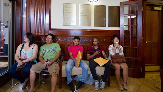 PHOTO:This Aug. 15, 2012 file photo shows applicants waiting in Casa de Maryland in Langley Park, Md., to apply for the Deferred Action Childhood Arrivals.