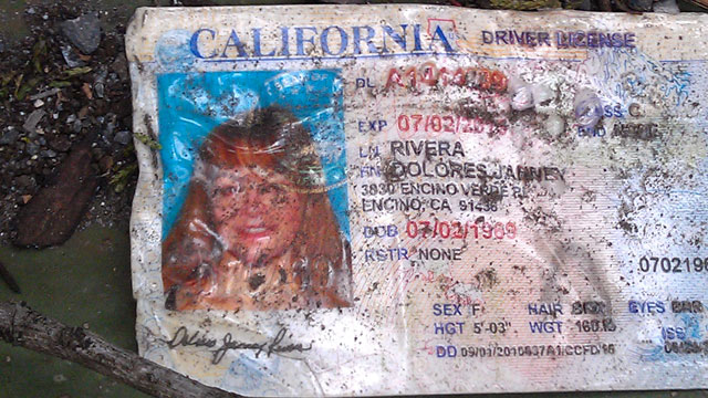 PHOTO: A California drivers license bearing the name of Jenni Rivera sits on the ground at the site where a plane allegedly carrying Rivera crashed near Iturbide, Mexico.