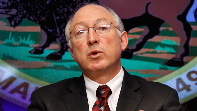 PHOTO:FILE - In this March 9 2009 file photo, Interior Secretary KenSalazar gestures during an interview with The Associated Press in Washington. Salazar will leave the Obama administration in March, an Obama administration official said Wednesday.