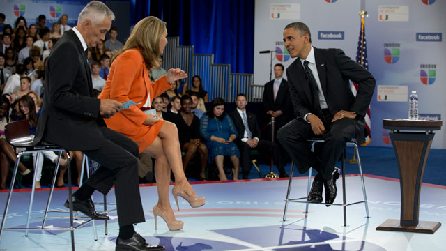 PHOTO:President Barack Obama participates in a town hall hosted by Univision and Univision news anchors Jorge Ramos, left and Maria Elena Salinas, center, at the University of Miami