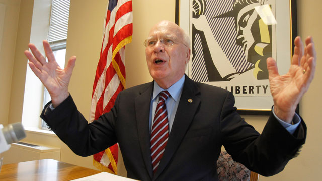 PHOTO: Sen. Patrick Leahy, D-Vt., holds a news conference on Friday, May 24, 2013 in Montpelier, Vt. Leahy says reforming the U.S. immigration system requires a comprehensive, rather than a piecemeal, approach.
