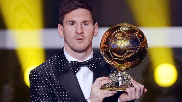 PHOTO: FC Barcelonas Argentinian striker Lionel Messi poses with the trophy after being awarded the FIFA Mens World Player of the Year during the FIFA Ballon dOr Gala 2012 held at the Kongresshaus in Zurich, Switzerland, Monday, Jan 7, 2013. Messi was