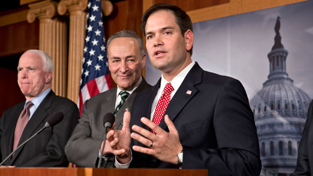 PHOTO: From left are Sen. John McCain, R-Ariz., Sen. Charles Schumer, D-N.Y., and Sen. Marco Rubio, R-Fla. A bipartisan group of senators said that they have reached agreement on the principles of legislation to rewrite the nations immigration laws.