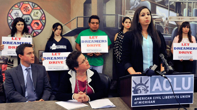 PHOTO:Plaintiff Leen Nour El-Zayat, at podium, a third-year pre-medical student at Wayne State University, speaks during a press conference at the ACLU of Michigan headquarters, Wednesday, Dec. 19, 2012 in Detroit.