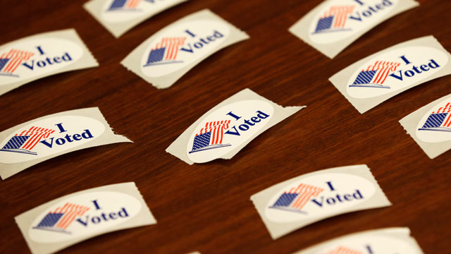 PHOTO:I Voted stickers sit on a table on Wednesday, Oct. 24, 2012.