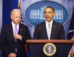 PHOTO:President Barack Obama stands with Vice President Joe Biden as he makes a statement in the Brady Press Briefing Room about policies he will pursue following the Newtown, Ct. shootings, Wednesday, Dec. 19, 2012, at the White House in Washington.