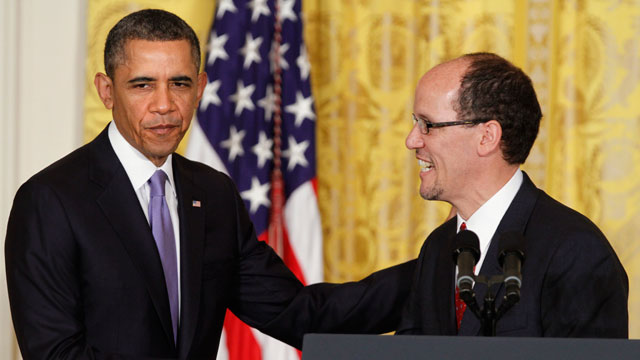 PHOTO: President Barack Obama shakes hands with his nominee for Labor Secretary, Thomas E. Perez, while announcing his nomination, Monday, March 18, 2013, in the East Room of the White House in Washington.
