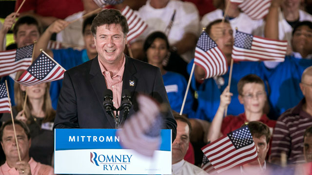 PHOTO: George Allen, who ran for one of Virginia's U.S. Senate seats, speaks at a campaign rally with Republican presidential candidate Mitt Romney and running mate Paul Ryan on August 11, 2012