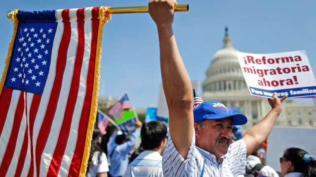PHOTO:Rigoberto Ramos from Seaford, Del., originally from Guatemala, rallies for immigration reform in front of the U.S. Capitol in Washington, Wednesday, April 10, 2013.