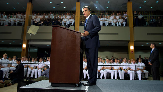 PHOTO:Republican presidential candidate, former Massachusetts Gov. Mitt Romney gives a foreign policy speech at the Virginia Military Institute, Monday Oct. 8, 2012, in Lexington, Va.
