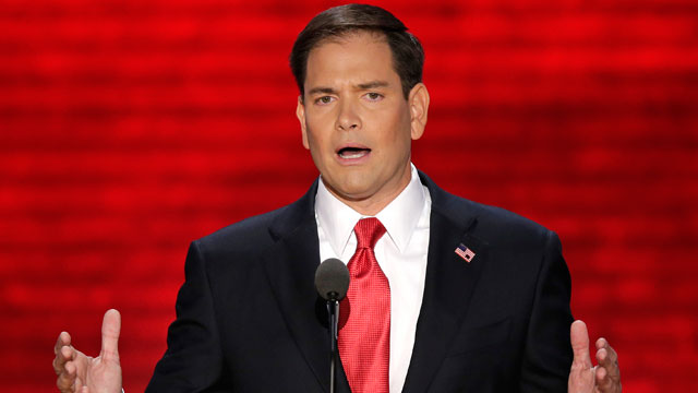 Florida Senator Marco Rubio addresses the Republican National Convention in Tampa, Fla.