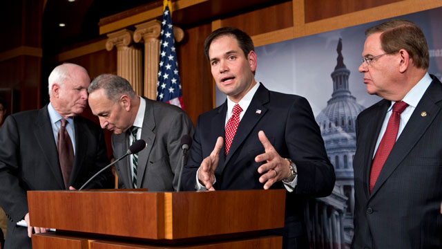 PHOTO:In this Jan. 28, 2013, file photo Sen. Marco Rubio, R-Fla., center, speaks at a Capitol Hill news conference on immigration legislation with a members of a bipartisan group of leading senators.
