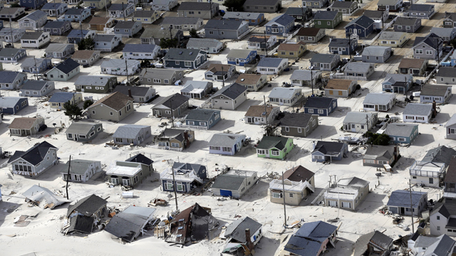 PHOTO:In this aerial photo, sand fills the streets in the wake of superstorm Sandy, Wednesday, Oct. 31, 2012, along the central Jersey Shore, N.J.