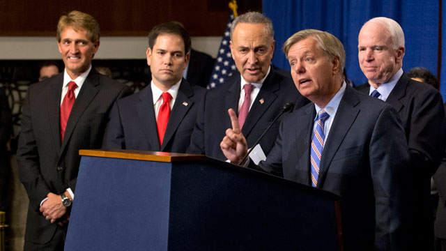 PHOTO: In this April 18, 2013 file photo, Sen. Lindsey Graham, R-S.C., second from right, speaks about immigration reform during a news conference on Capitol Hill in Washington.