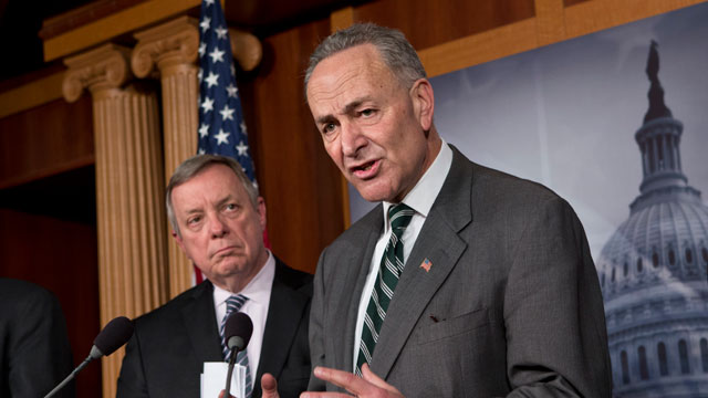 PHOTO: Sen. Charles Schumer, D-N.Y., right, and Sen. Dick Durbin, D-Ill., left, are part of a bipartisan group of senators negotiating an immigration overhaul.