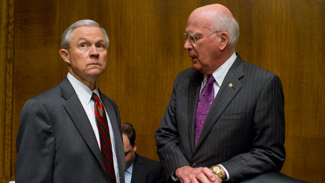 PHOTO: (File) Senate Judiciary Committee Ranking Member, Republican Jeff Sessions, R-Ala., left, and Democrat Chairman Patrick Leahy, D-Vt., confer before an Immigration hearing on Capitol Hill in Washington.