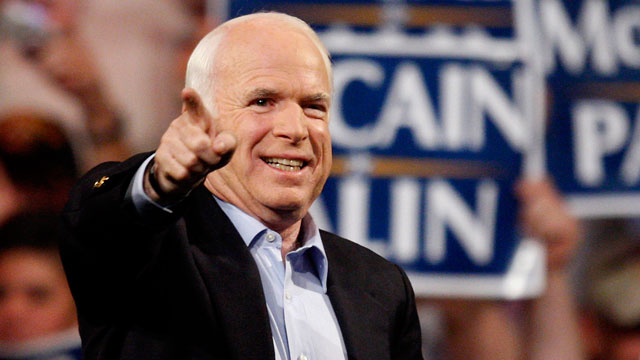 PHOTO: In this Nov. 3, 2008 file photo, then-Republican presidential candidate, Sen. John McCain, R-Ariz., points to the crowd during a rally in Henderson, Nev.