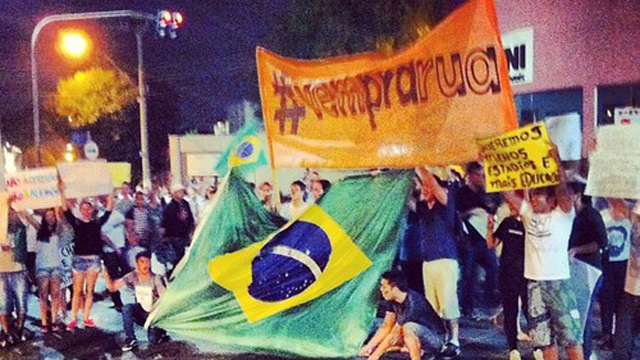 """PHOTO:The jingle for a Fiat commercial, """"Vem Pra Rua,"""" has turned into a protest song and unifying hashtag in Brazil."""