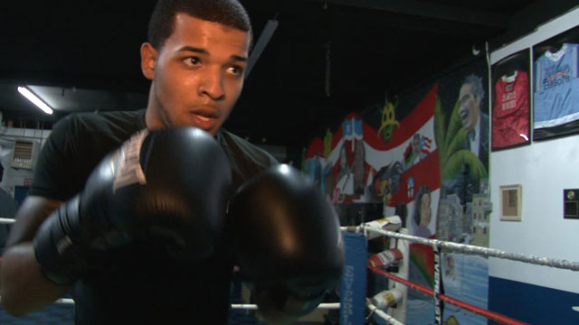 PHOTO:Enrique Rijos, 20 year-old boxing student.