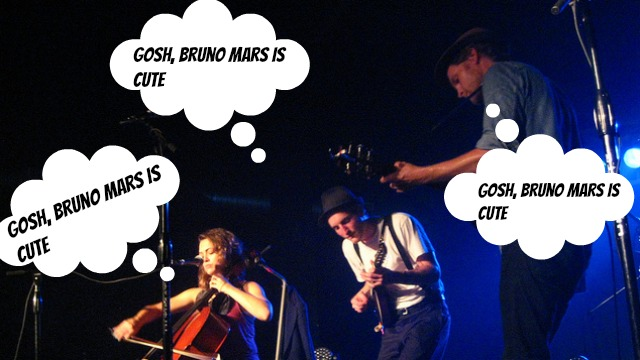 PHOTO:The Lumineers aren't immune to Bruno Mars' charms. (According to our fanfic, anyway.)