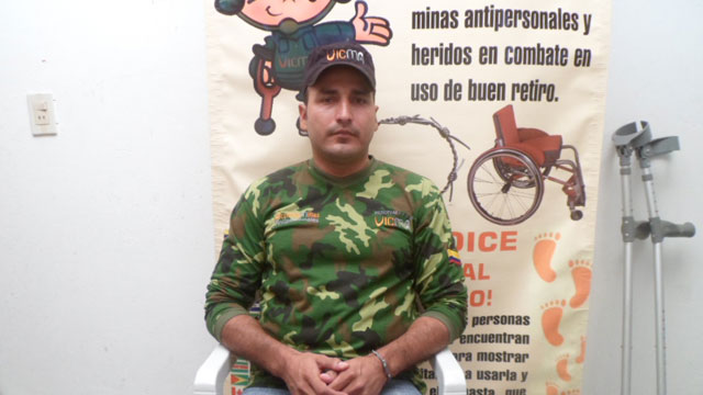 PHOTO:  Diomedez Ortega, a Colombian Special Forces member who lost his leg in a landmine explosion in 2009.