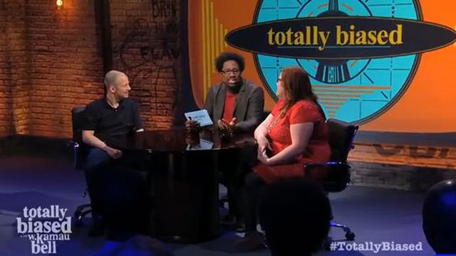 PHOTO: Jim Norton (L) and Lindy West (R), sit down with Totally Biased host W. Kamau Bell (center)