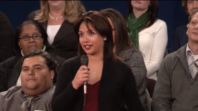 PHOTO:Lorraine Osorio, 24, asked Governor Romney how he would handle immigrants currently in the country without documents.