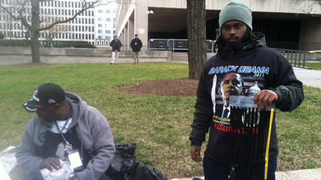 PHOTO:Vendors tempted inauguration attendees with a variety of Obama-related goods, from pins to t-shirts.