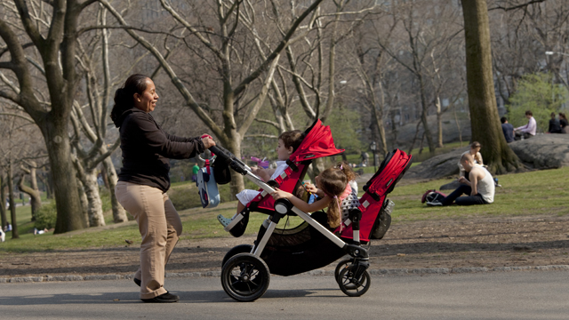 "PHOTO: A nanny pushes a stroller in New York Citys Central Park, just blocks away from the residence where Felicitas del Carmen Villanueva Garnica (not pictured) says she was subject to ""involuntary servitude."""