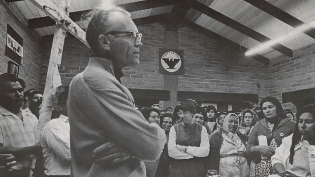 PHOTO: Fred Ross Sr. at mass during Cesar Chavez's fast, April 1968.