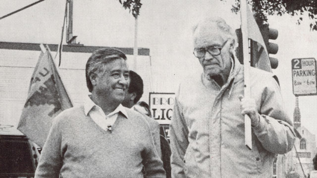PHOTO: Fred Ross Sr. and Cesar Chavez picket together.